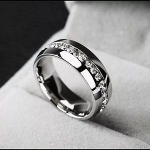 Jewelry - Unisex wedding band!! Stainless steel and cz